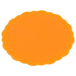 Home Silicone Flower Shaped Heat Resistant Pot Pad Cup Mat Orange 10.3cm Dia