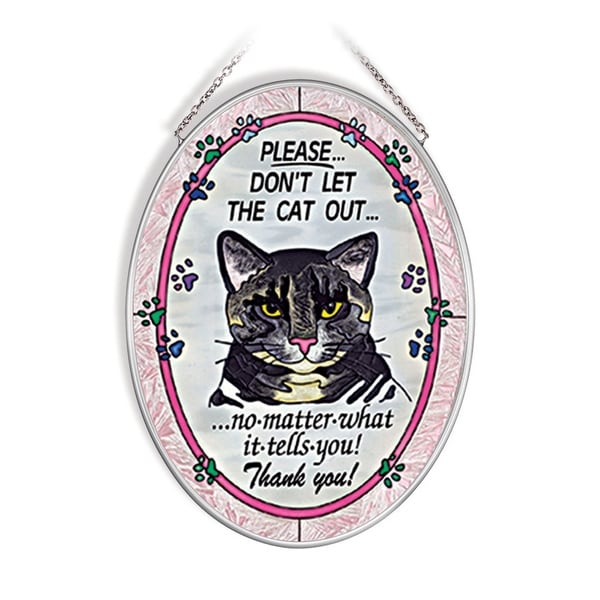 "Pink and Blue Please Don't Let The Cat Out Oval Glass Wall Art Decor 7.25"" x 5.50"" - N/A"