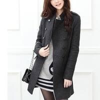 Women's Windbreaker Long Woolen Jacket Winter Coat Slim Overcoat