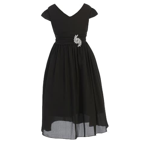 Just Kids Black Sash Broche Ankle Length Junior Bridesmaid Dress Big Girls