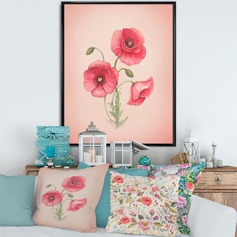 Designart 'Retro Poppy Flowers' Vintage Framed Canvas Wall Art Print
