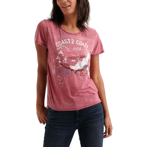 Lucky Brand Womens Coast 2 Coast Graphic T-Shirt Embroidered Burnout