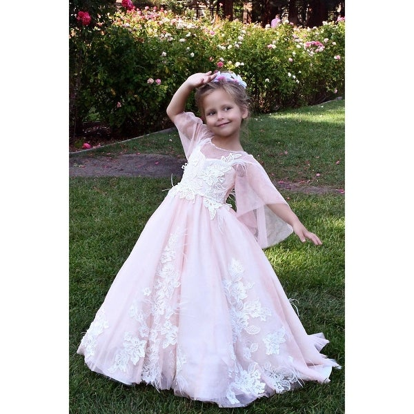 8f98c3bd574ea TriumphDress Girls Pink Feather Lace Applique Aziza Flower Girl Dress