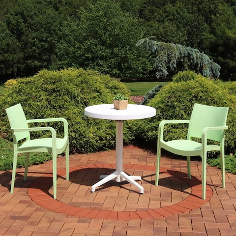 Sunnydaze All-Weather Landon 3-Piece Indoor/Outdoor Table and Chair Set - Green