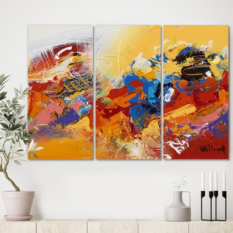 Designart 'Abstract Red and Yellow 03' Premium Modern Canvas Wall Art - 36x28 - 3 Panels