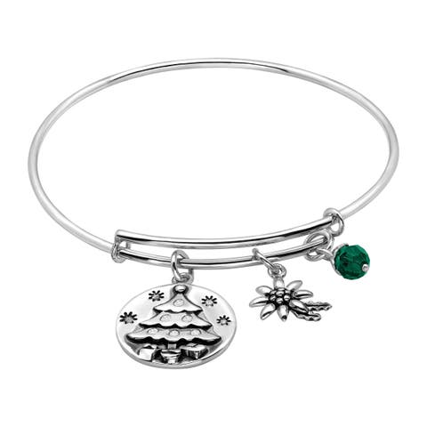 Adjustable Christmas Tree Charm Bangle in Sterling Silver - White