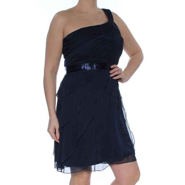 ADRIANNA PAPELL Womens Navy One-shoulder Tiered Chiff Sleeveless Asymetrical Neckline Above The Knee Cocktail Dress Size: 12