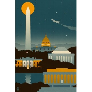 Washington, DC Retro Skyline (no text) LP Artwork (Art Print - Multiple Sizes)
