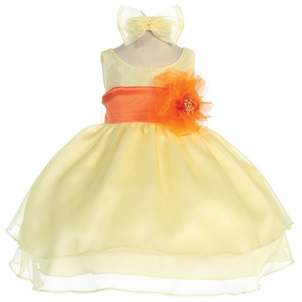 Baby Girls Yellow Orange Sash Organza Flower Girl Dress 6-24M