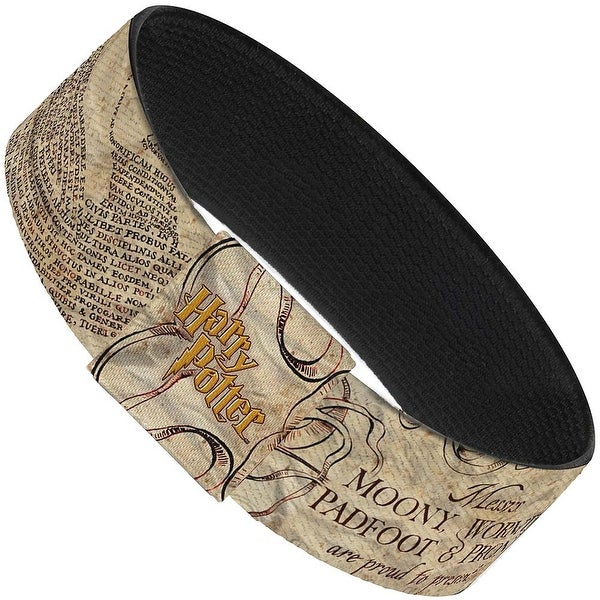 "The Marauder's Map Tan Browns Gold Elastic Bracelet 1.0"" Wide"