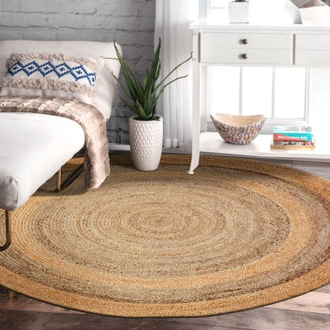LR Home Natural Jute Hand Braided Geometric Rug