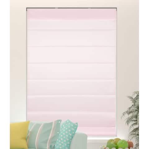 Arlo Blinds Light Pink Light Filtering Cordless Fabric Roman Shades