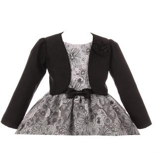 Kids Dream Girls Black Rosette Accented Satin Long Sleeve Bolero
