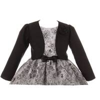 Kids Dream Little Girls Black Rosette Accented Satin Long Sleeve Bolero