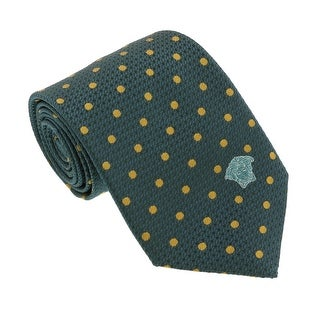 Versace Green/Gold Woven Circle Grid Tie