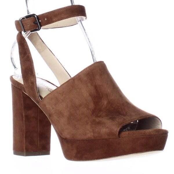 Via Spiga Julee Peep Toe Ankle Strap Block Heel Sandals, Luggage