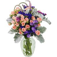 KaBloom: Frosted Grace Mixed Bouquet with Vase