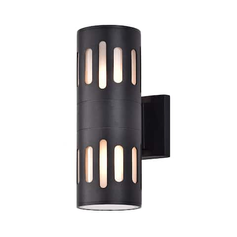 Black 2-light Die-cast Aluminum Cylindrical Outdoor Wall Sconce