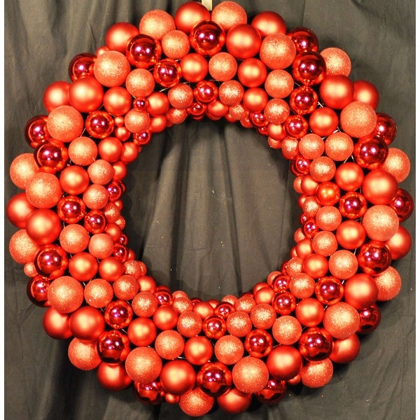 Christmas at Winterland WL-BWR-45-RE 4 Foot Red Ornament Wreath Indoor / Outdoor - N/A
