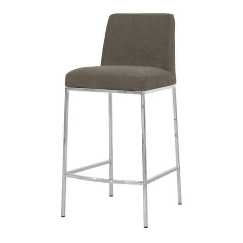 Celine Modern Upholstered Fabric Seat Counter Chrome Metal Base