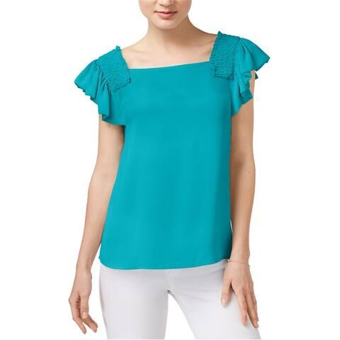 Maison Jules Womens Smocked Flutter-Sleeve Pullover Blouse