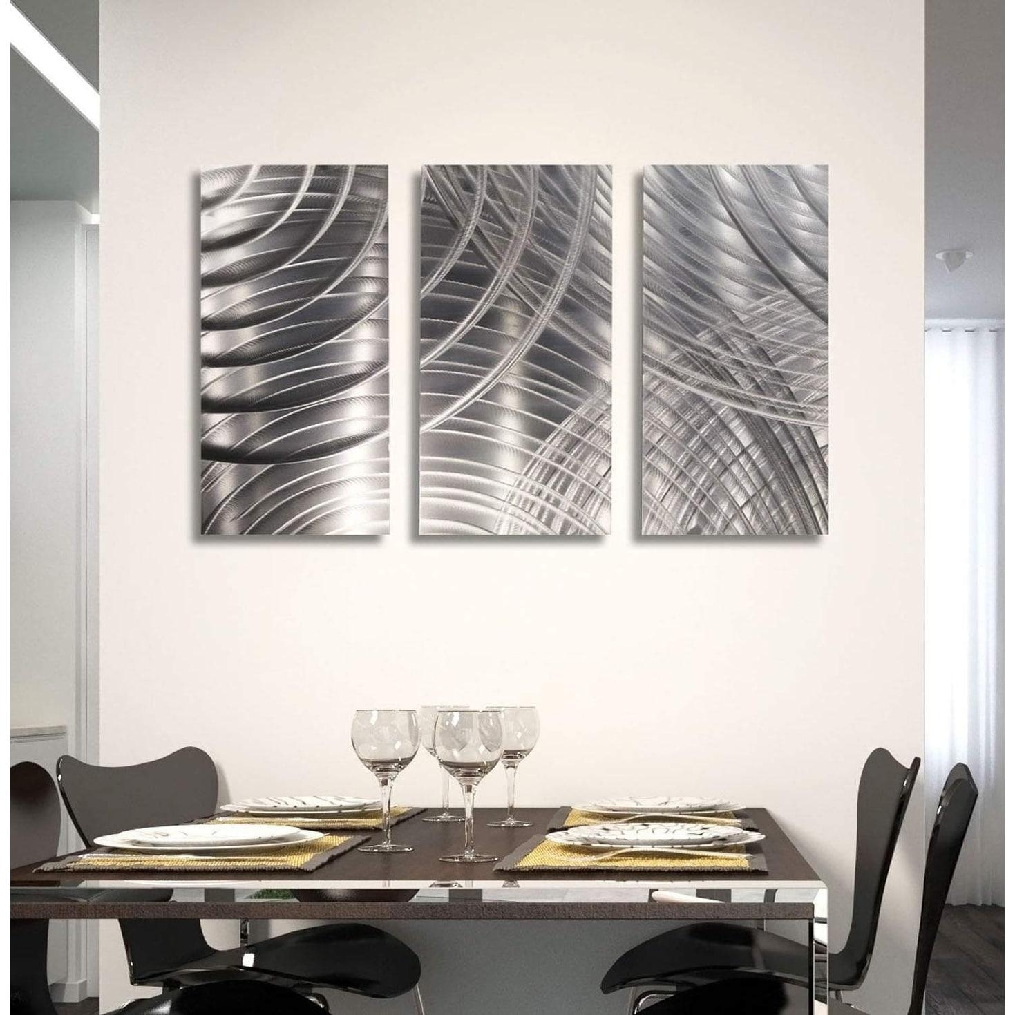 Shop Statements2000 3d Metal Wall Art Sculpture Silver Modern Decor By Jon Allen Equinox Ii 3p Overstock 31127825