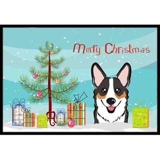 Carolines Treasures BB1627MAT Christmas Tree & Tricolor Corgi Indoor or Outdoor Mat 18 x 27