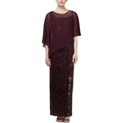 SLNY Womens Evening Dress Sequined Sleeveless - Aubergine