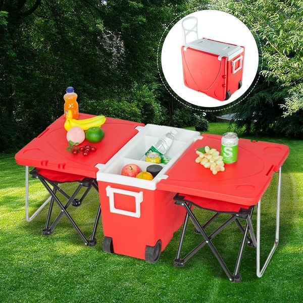 41'' VINGLI Outdoor Picnic Foldable Multi-function Rolling Cooler Upgraded Stool Red/Blue. Opens flyout.