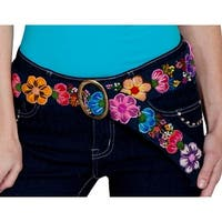 Scully Belt Womens Western Floral Embroidery Cinch Closure - One size