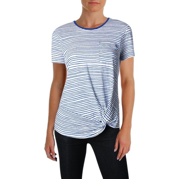 1b5324f1f Shop Lauren Ralph Lauren Womens T-Shirt Linen Striped - Free Shipping On Orders  Over $45 - Overstock - 26474656
