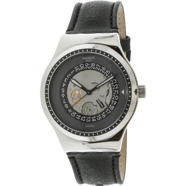 21749e1c33c813 Swatch Men  x27 s Sistem Solaire Silver Leather Automatic Fashion Watch