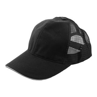 Unisex Cotton Blends 6 Panel Golf Baseball Cap Outdoor Sports Hat Black White