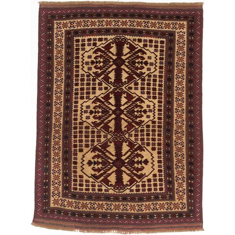"ECARPETGALLERY Hand-knotted Tajik Tribal Red, Khaki Wool Rug - 6'3"" x 8'6"""
