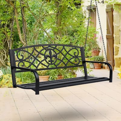 Outsunny Steel Fleur-de-Lis Design Outdoor Porch Swing Seat Bench with Chains for the Yard, Deck, & Backyard, Bronze