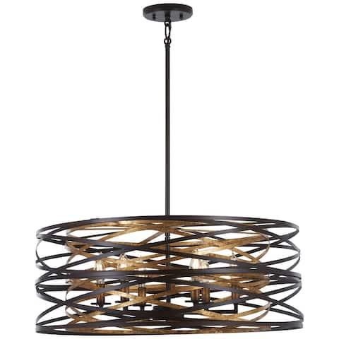 Vortic Flow Dark Bronze W/Mosaic Gold Inte 6 Light Pendant by Minka Lavery