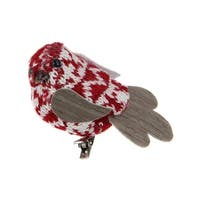 "3.5"" Red and White Decorative Knit Bird Clip-On Ornament"