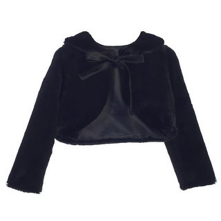 Sweet Kids Baby Girls Black Faux Fur Ribbon Long Sleeve Bolero Jacket