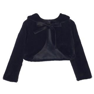 Sweet Kids Girls Black Faux Fur Ribbon Long Sleeve Bolero Jacket