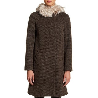 Link to Eliza J Womens Coats Brown Size Medium M Removeable-Faux-Fur Trim Similar Items in Women's Outerwear