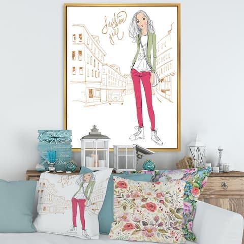 Designart 'Trendy Fashion Girl II' Children's Art Framed Canvas Wall Art Print