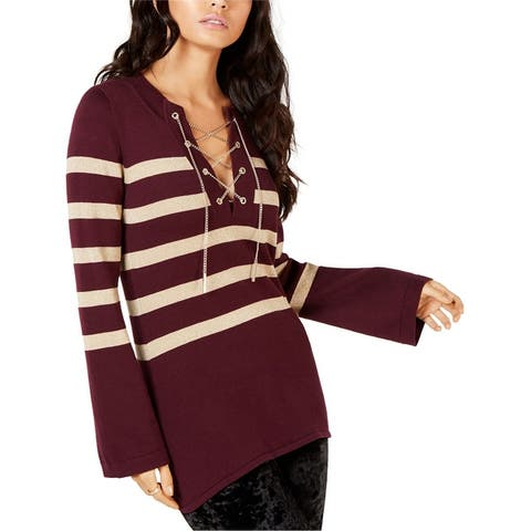 Michael Kors Womens Chain Lace-Up Striped Knit Sweater