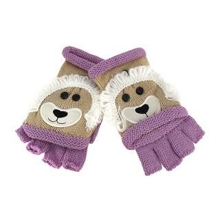 Knit Convertible Tan Lion Fingerless Gloves