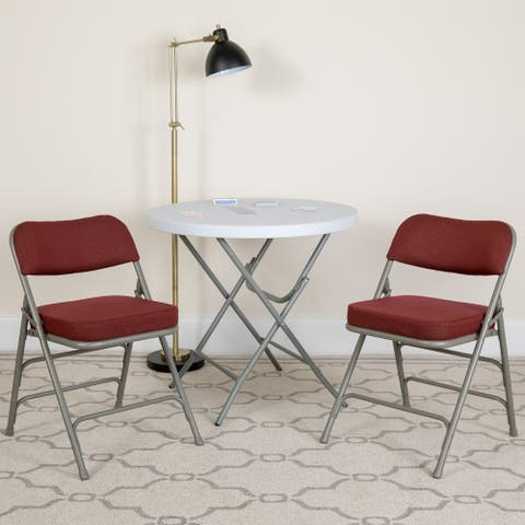 2 Pack Curved Triple Braced & Double Hinged Upholstered Metal Folding Chair