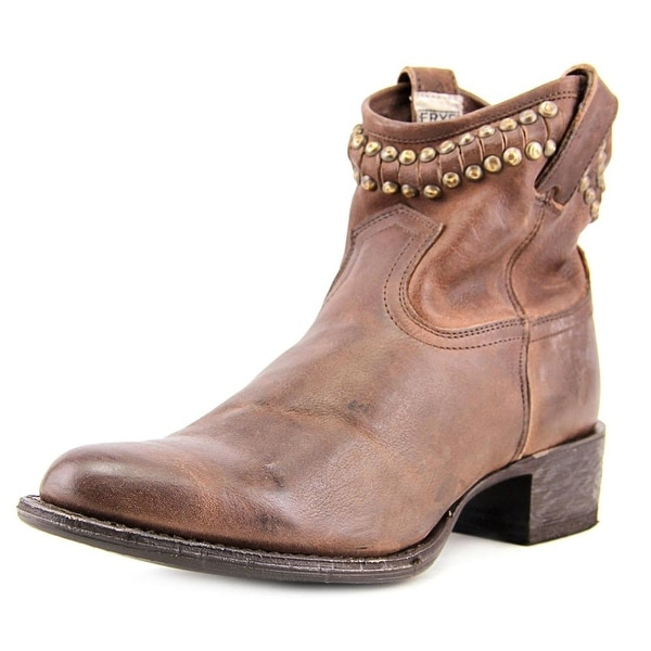 Frye Diana Cut Stud Short Women  Pointed Toe Leather Brown Ankle Boot
