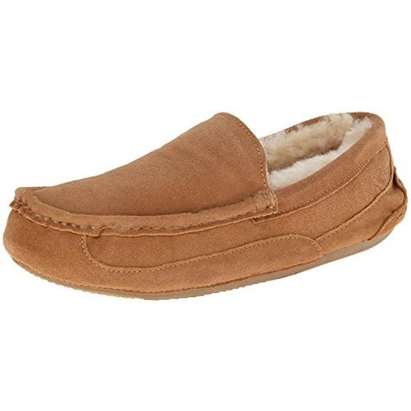 Gold Toe Mens Canoe Venetian Moccasin Slippers Suede Fur Lined