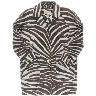 MICHAEL Michael Kors Womens Animal Print Notch Collar Coat