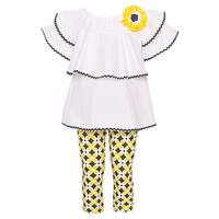Rare Editions Little Girls White Yellow Flower Accent 2 Pc Legging Outfit