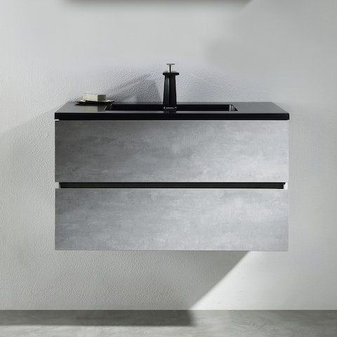 Alma-EDI 24-inch Cement Grey Wall Mount Vanity with Integrated Sink