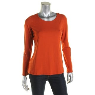 Eileen Fisher Womens Petites T-Shirt Jersey Long Sleeves - pm